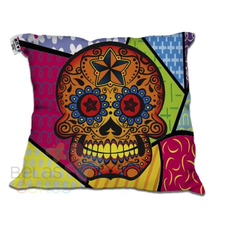 Almofada-Decorativa-30x30-Caveira-Mexicana