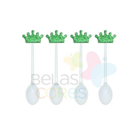 colherzinha-acrilica-branca-aplique-coroa-verde-escuro-tamanho-p-50-unidades
