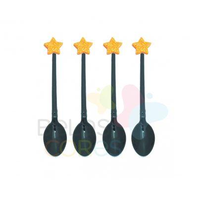 colherzinha-acrilica-preta-aplique-estrela-laranja-tamanho-pp-50-unidades