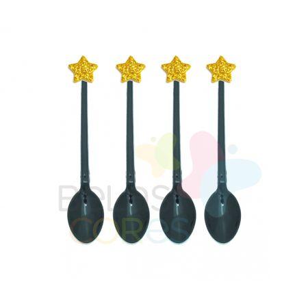 colherzinha-acrilica-preta-aplique-estrela-ouro-tamanho-pp-50-unidades