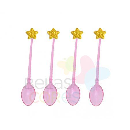 colherzinha-acrilica-rosa-aplique-estrela-ouro-tamanho-pp-50-unidades