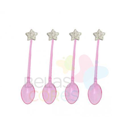 colherzinha-acrilica-rosa-aplique-estrela-prata-tamanho-pp-50-unidades