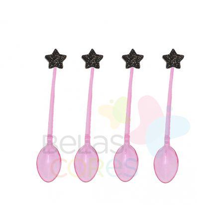 colherzinha-acrilica-rosa-aplique-estrela-preto-tamanho-pp-50-unidades