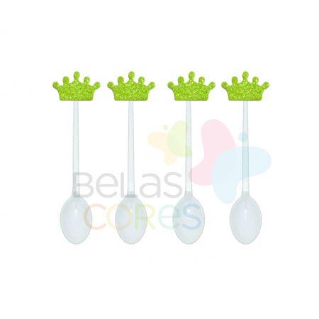 colherzinha-acrilica-branca-aplique-coroa-verde-claro-tamanho-p-50-unidades